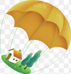 Yellow Cartoon Parachute House Decoration Pattern - Download PNG