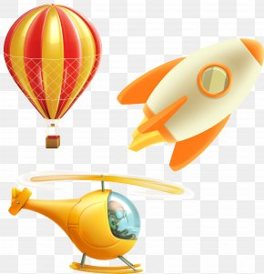 Vector Cartoon Cute Hot Air Balloon Helicopter Rockets - Helicopter Airplane Flight Stock Illustration PNG