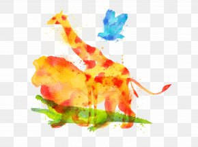 Vector Drawing Lion - Giraffe Lion Watercolor Painting Drawing PNG