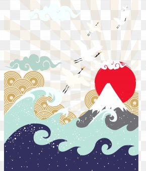 Mountain Sun Japanese Illustration - Japan Wave Illustration PNG