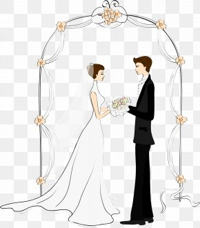 Arches And Cartoon Couple - Cartoon Couple Wedding Drawing Marriage PNG