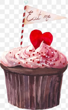 Watercolor Painted Chocolate Cake - Cupcake Watercolor Painting Drawing Photography PNG