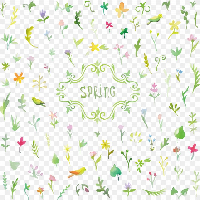 Spring Flowers Background, PNG, 3630x3638px, Watercolor Painting, Area, Art, Border, Floral Design Download Free