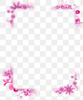 Purple Flower Frame - Picture Frame PNG
