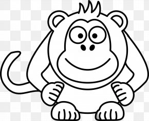 Monkey Drawings - Cartoon Black And White Drawing Clip Art PNG