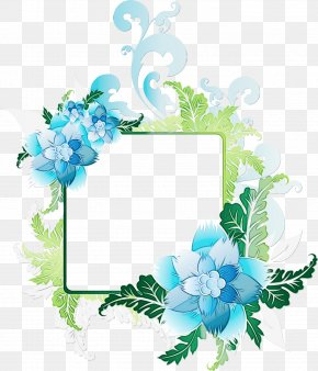 Hydrangea Picture Frame - Watercolor Flowers Frame PNG
