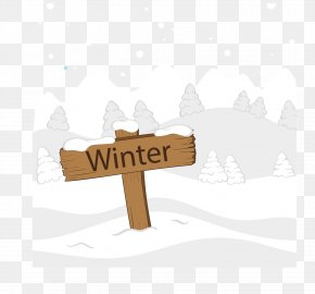 Vector Hand-painted Wooden Plaque Inserted In The Snow - Snow PNG