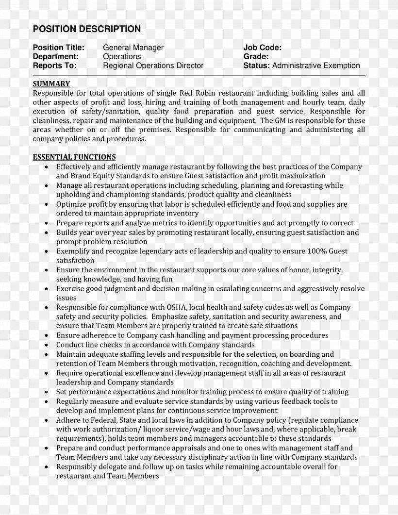Resume Job Description Curriculum Vitae Supervisor Restaurant Management Png 2550x3300px Resume Area Cover Letter Curriculum Vitae