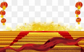 Free Red Carpet Golden Ladder To Pull The Material - Carpet Stairs Icon PNG