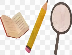 Book Pencil Magnifying Glass Material - Magnifying Glass Download PNG