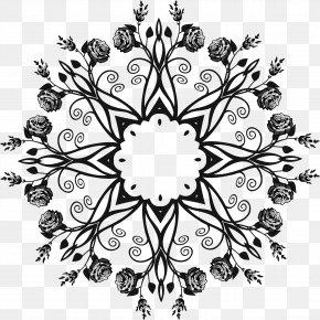 Decorative Pattern - Black And White Floral Design Clip Art PNG
