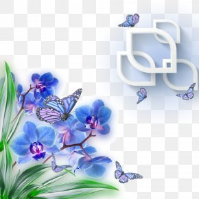 Blue Butterfly Orchid Decoration - Mothers Day Wish Greeting Card Wallpaper PNG