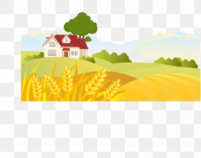 Vector Illustration Autumn Field Hut - Landscape Rural Area Drawing Euclidean Vector PNG