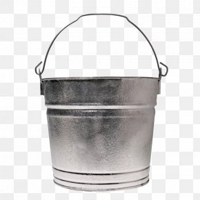 Silver Bucket - Bucket Paint Silver Pail Metal PNG