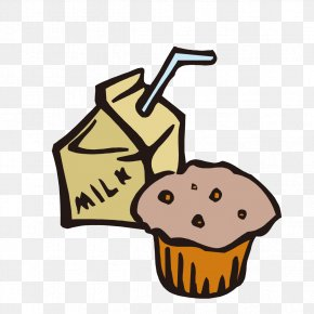 Hand-painted Milk And Cake - English Muffin Milk Cupcake Clip Art PNG