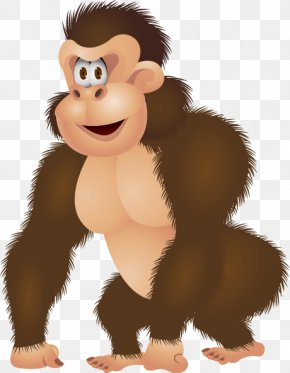 Cute Cartoon Gorilla - Western Gorilla Chimpanzee Drawing Illustration PNG
