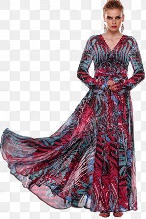 Women's Day - Chiffon Dress Sleeve Neckline Gown PNG