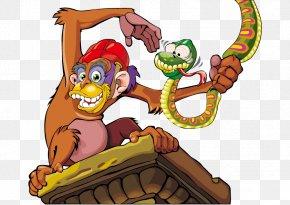 Vector Monkey Snake - Ape Monkey Chimpanzee Clip Art PNG