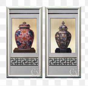 Chinese Glazed Vase Vintage Aluminum Frame Decorative Painting - Picture Frame Painting Vase PNG