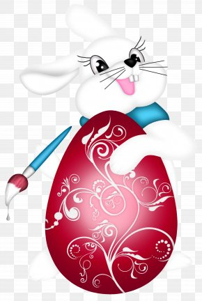 Transparent Easter Bunny And Red Egg Clipart Picture - Easter Bunny Clip Art PNG