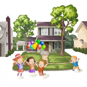 Four Children Play With Balloons And Houses Vector - Child Royalty-free Clip Art PNG