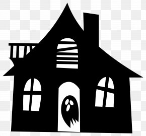 Scary - Haunted House Silhouette Drawing Clip Art PNG