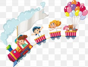 Children On A Small Train - Drawing Stock Illustration Child Illustration PNG