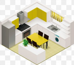 Vector Kitchen Design - Kitchen Living Room Isometric Projection Interior Design Services PNG