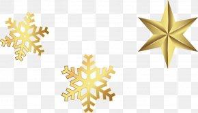 Golden Snowflake Stars - Snowflake Schema Computer File PNG