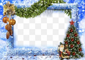 Blue Christmas Frame - Christmas Picture Frame New Year PNG