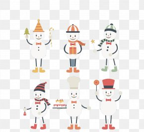 Snowman Cartoon Vector Material - Santa Claus Christmas Ornament Textile Cartoon Illustration PNG