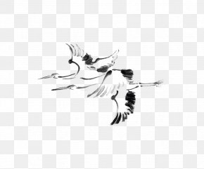 Crane - Japanese Painting Ink Wash Painting Drawing PNG