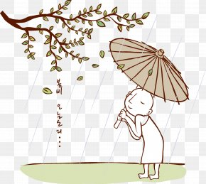 Fig Trees Flower Umbrella Monk - Cartoon Watercolor Painting Illustration PNG