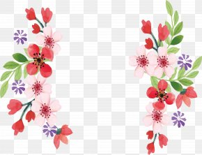 Pink Small Floral Border - Flower Watercolor Painting PNG