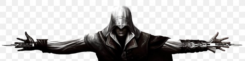 Assassin's Creed III Ezio Auditore Assassin's Creed: Brotherhood, PNG, 1024x259px, Ezio Auditore, Assassins, Black And White, Desmond Miles, Fictional Character Download Free
