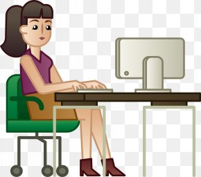 A Woman Who Works In Front Of A Computer - Woman White-collar Worker Computer PNG