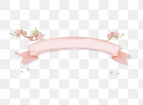 Fresh And Beautiful Ink Peach Pink Ribbon - Download Angle Pattern PNG