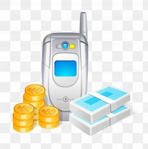 Mobile Phone And Gold Coins - Mobile Phone Icon PNG