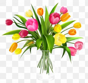 Vase With Tulips Clipart - Tulip Flower Bouquet Clip Art PNG