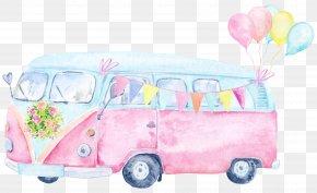 Graffiti Bus - Car Watercolor Painting Clip Art PNG
