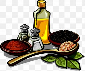 Sesame Oil With Various Spices - Spice Mix Herb Seasoning Clip Art PNG