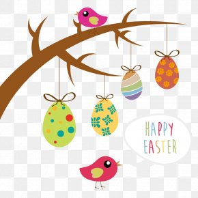 Vector Easter Elements - Easter Bunny Easter Egg Tree Clip Art PNG