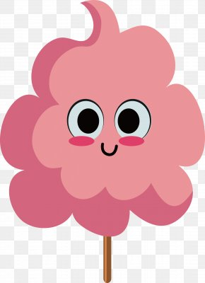 Pink Cotton Candy With Big Eyes - Cotton Candy Pink Sugar Animation PNG