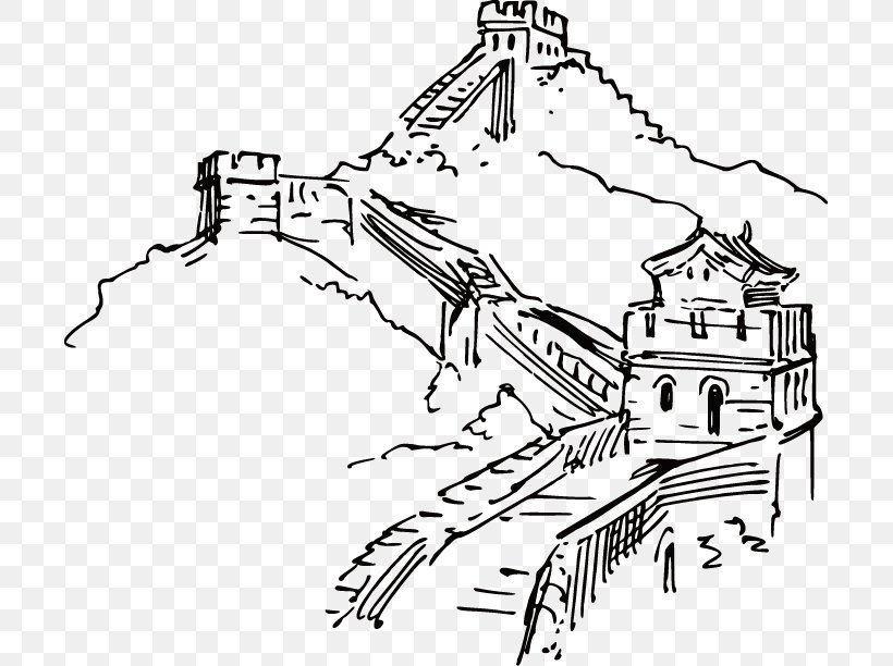 Great Wall Of China Ink Wash Painting Illustration, PNG, 701x612px, Great Wall Of China, Art, Artwork, Black, Black And White Download Free