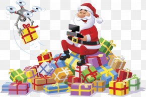 Santa Claus Presents - Santa Claus Unmanned Aerial Vehicle Christmas Gift Radio Control Illustration PNG