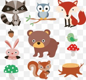 9 Cartoon Forest Animals And Plants Vector Material - Squirrel Raccoon Cartoon Forest PNG