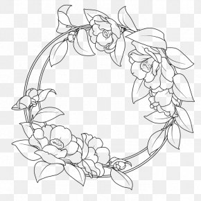 Camellia Round Border Vector Artwork - Flower Clip Art PNG