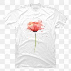 T-shirt - Poppy T-shirt Watercolor Painting Flower Mat PNG
