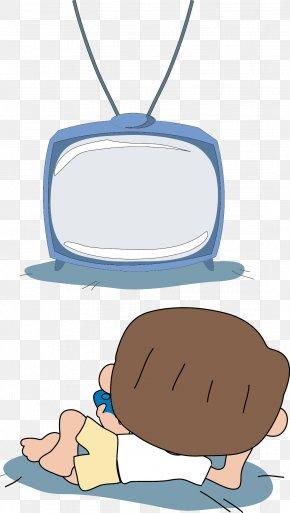 Cartoon Children Watching TV - Cartoon Television Drawing PNG