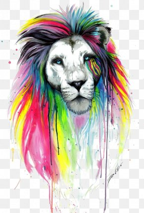 Watercolor Lion - Lion Drawing Painting Art PNG